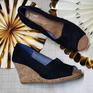 Toms Canvas Peep Toe Wedges size 7
